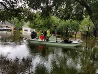 Using a flatscat for a rescue mission during Hurricane Harvey in Friendswood Texas.